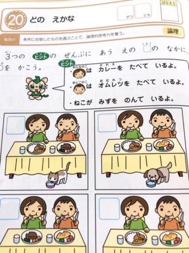 Z会幼児年中3月号の論理ワーク